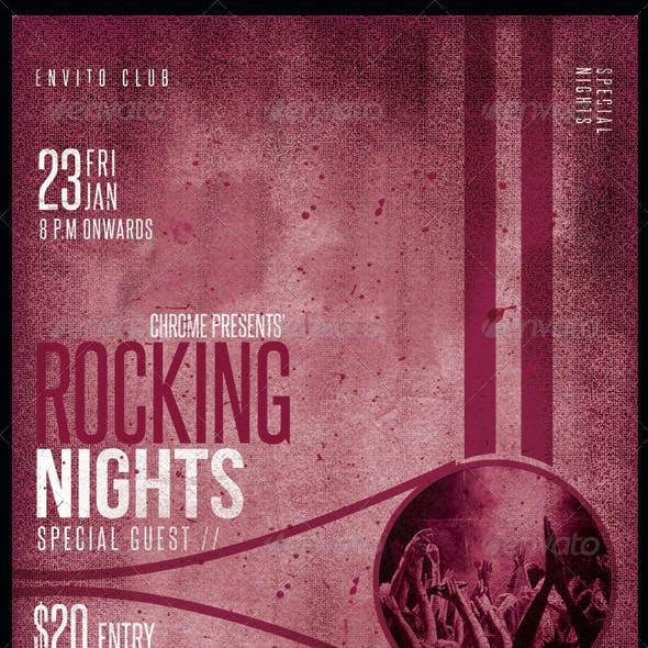 Vintage Party Flyer: Rocking Night