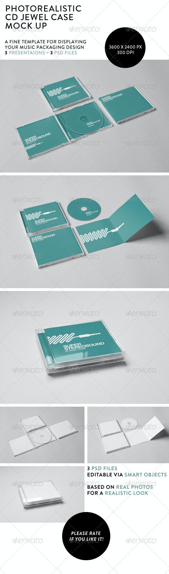 Realistic CD Jewel Case Mock-Up - Discs Packaging
