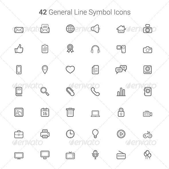 42 General Line Symbol Icons - Icons