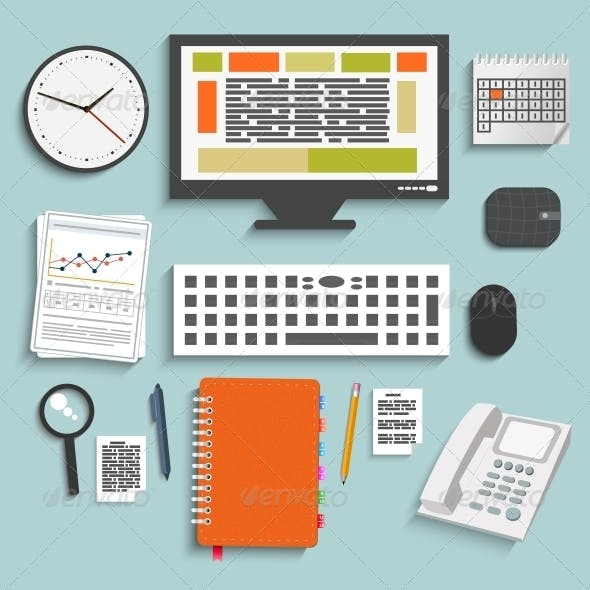 Set of Office and Business Work Elements