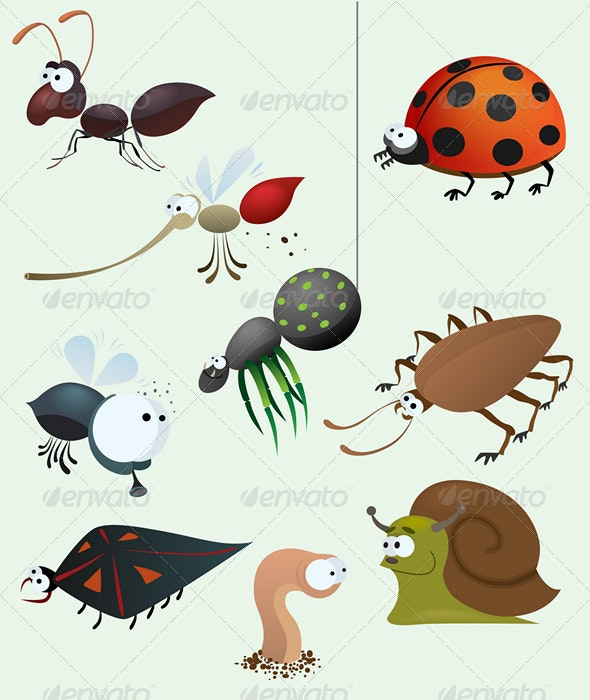 Funny insect set - Animals Characters