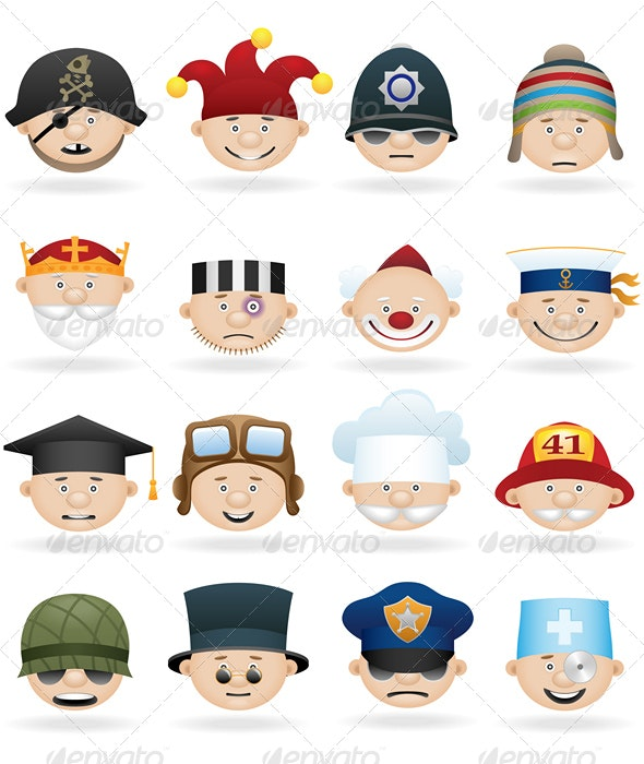 People occupations icon set - People Characters