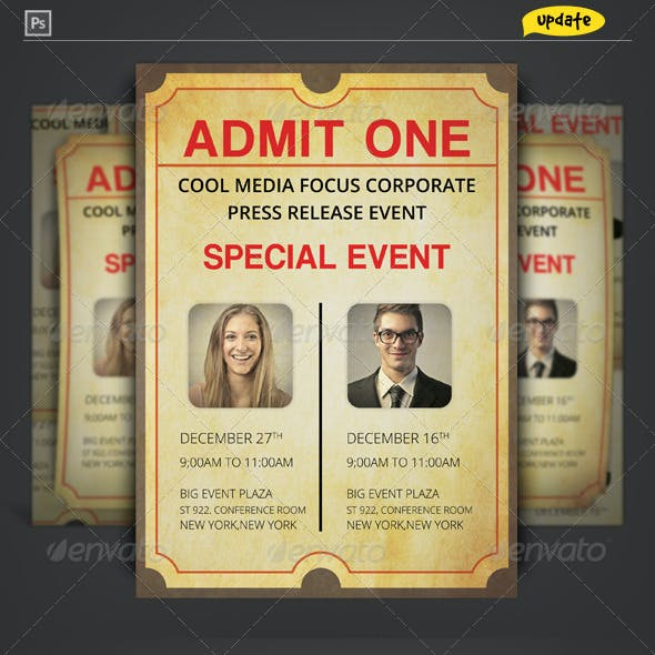 Admit One Ticket Corporate Invitation