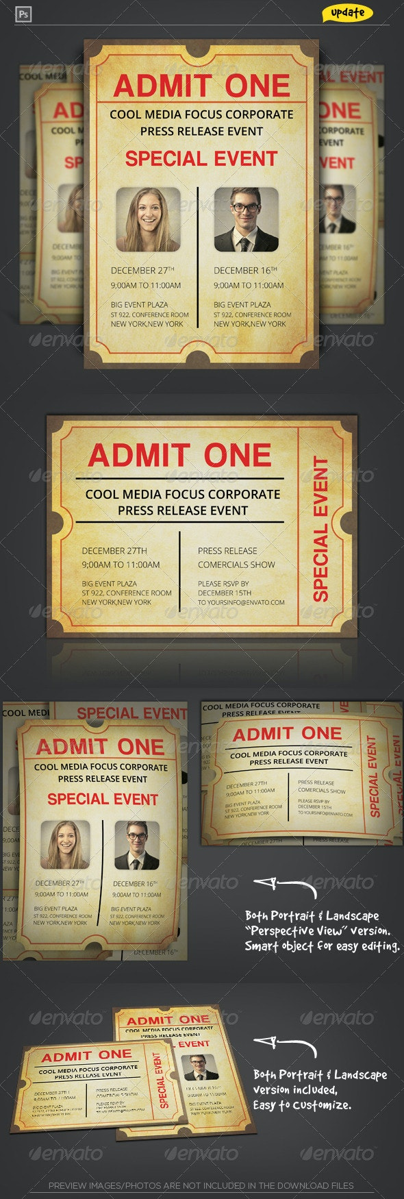 Admit One Ticket Corporate Invitation - Invitations Cards & Invites