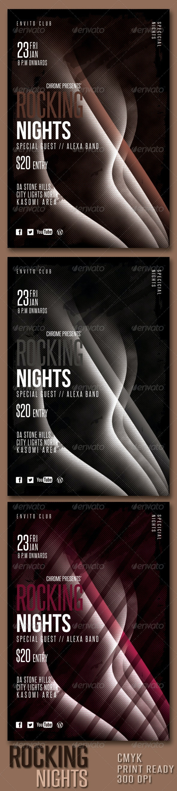Rocking Nights PSD Flyer Template - Clubs & Parties Events