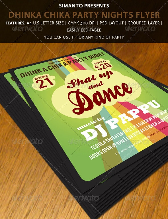 Party Flyers Template (Dhinka Chika Party Night - Clubs & Parties Events