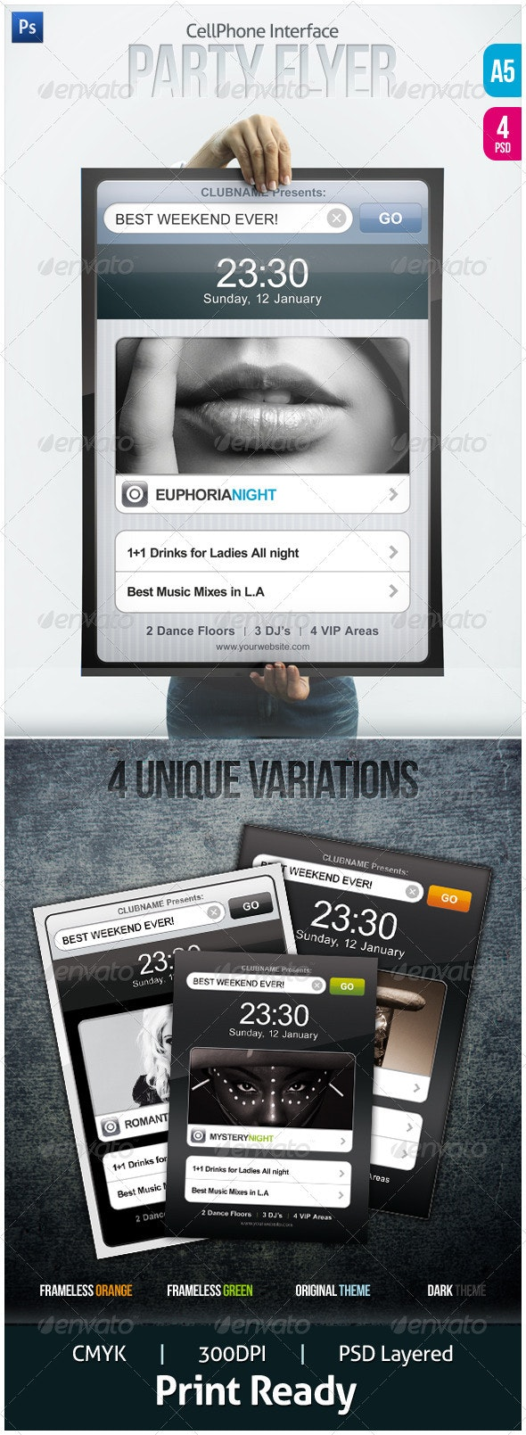 CellPhone Interface Party Flyers - Clubs & Parties Events