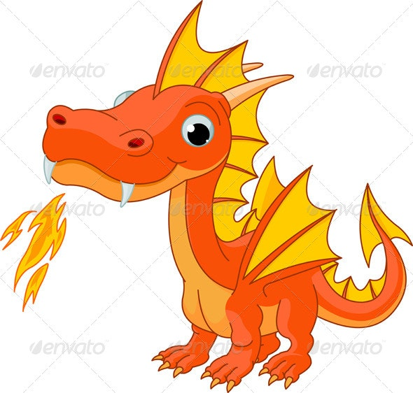 Cartoon Fire Dragon - Monsters Characters
