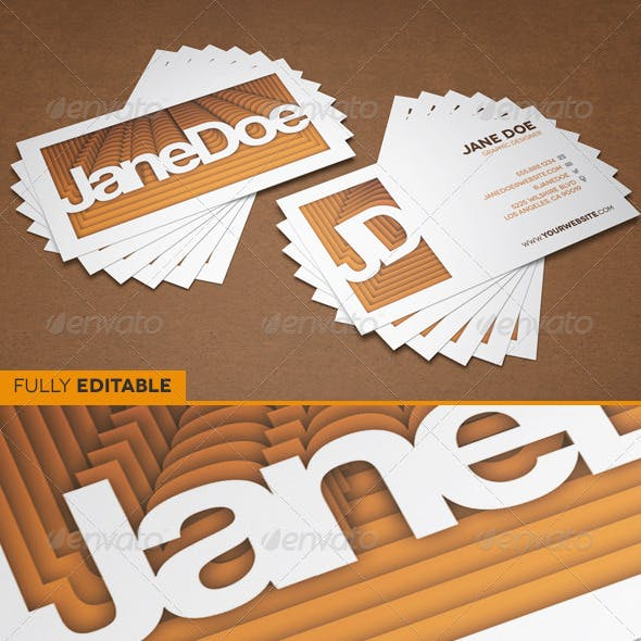 3D Retro Paper Stack Business Card