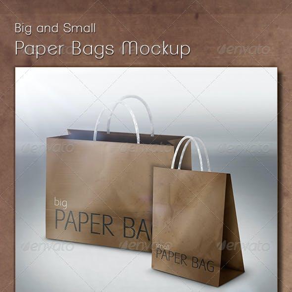 Big and Small Paper Bags Mockup