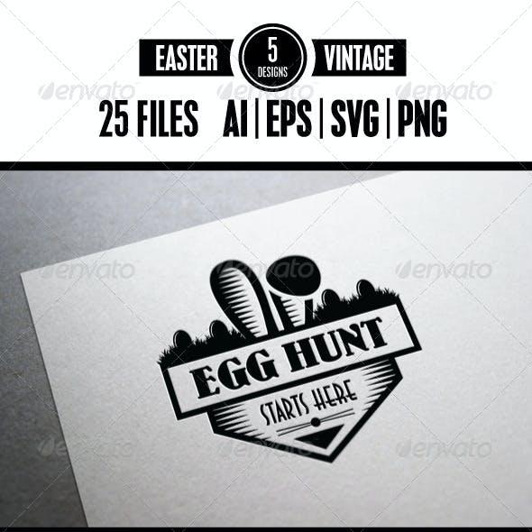 5 Retro Easter Badges