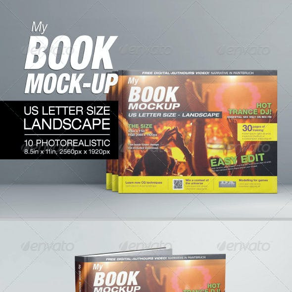 MyBook US Letter Size Landscape Mock-up