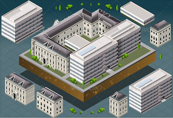 Isometric European Historic Building - Buildings Objects
