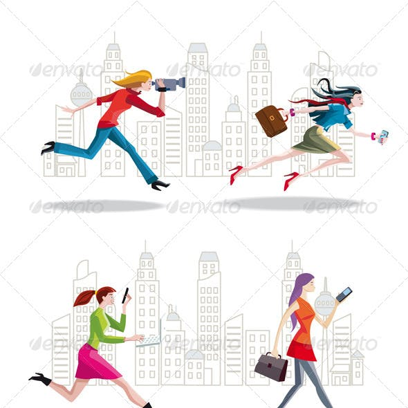 Entrepreneurs Women Running in the City