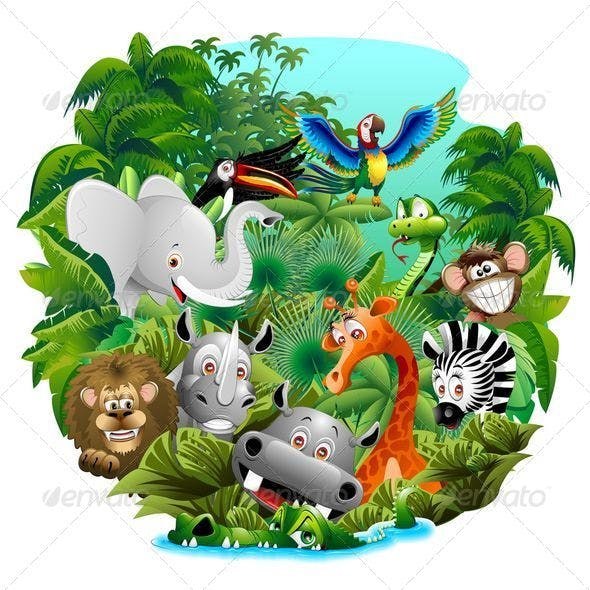 Wild Animals Cartoon on the Jungle