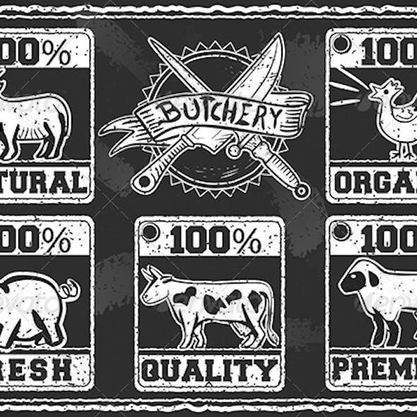 Vintage Butcher Shop Label on a Blackboard