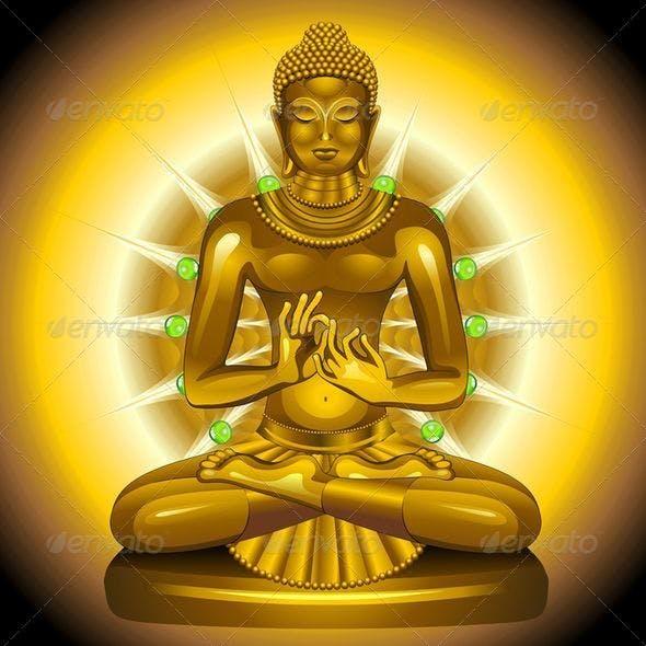 Buddha Gold and Emeralds Statue