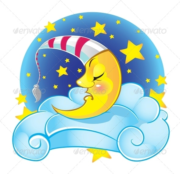 Sports Cap Logo Mockup Isolated: Sleeping Yellow Moon In Cap On The Cloud By Azuzl