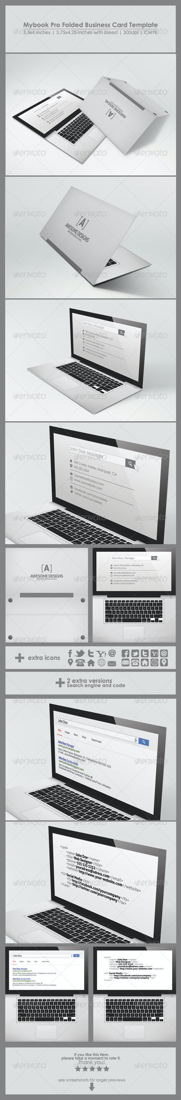 Mybook Pro Folded Business Card Template - Real Objects Business Cards
