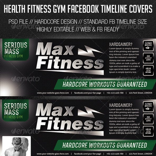 Health Fitness Gym Facebook Cover Photos