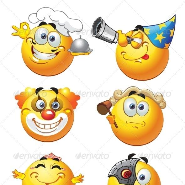 Set of Round Smiles profession