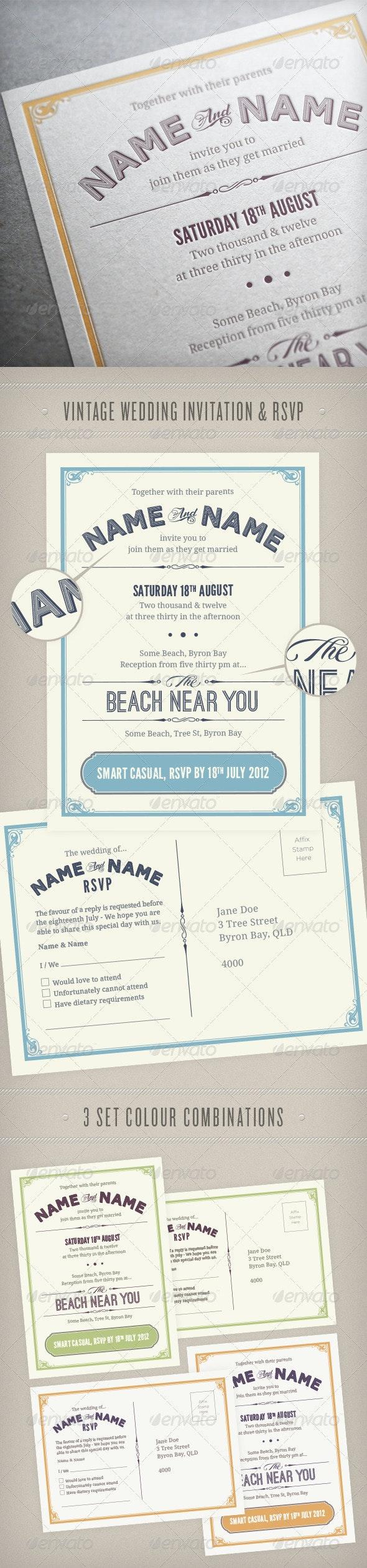 Vintage Wedding Invitation & RSVP - Weddings Cards & Invites