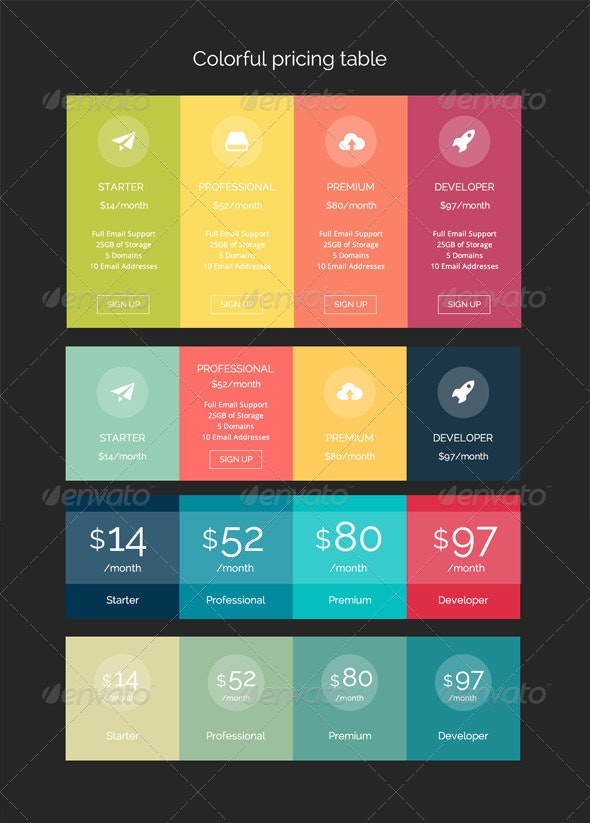 Colorful Pricing Table - Tables Web Elements