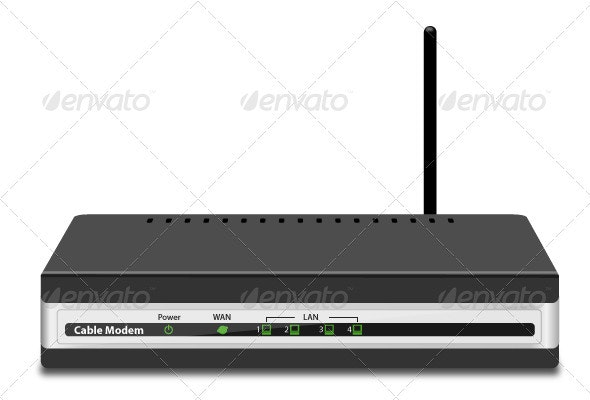 Wireless Cable Modem - Objects Vectors