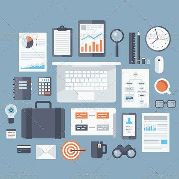 Business Items Flat Icons Set