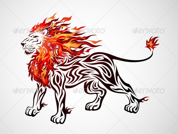 Tribal Flame Lion - Animals Characters