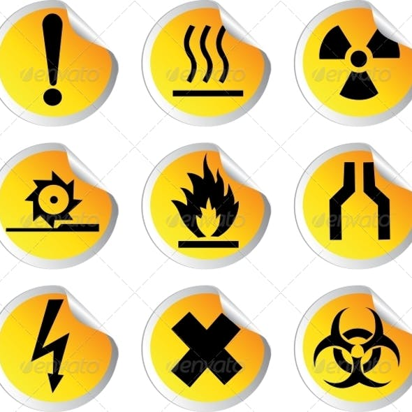 Glossy Stickers with Warning Signs Set 1