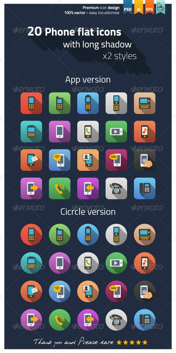 Phone Flat Icons - Icons