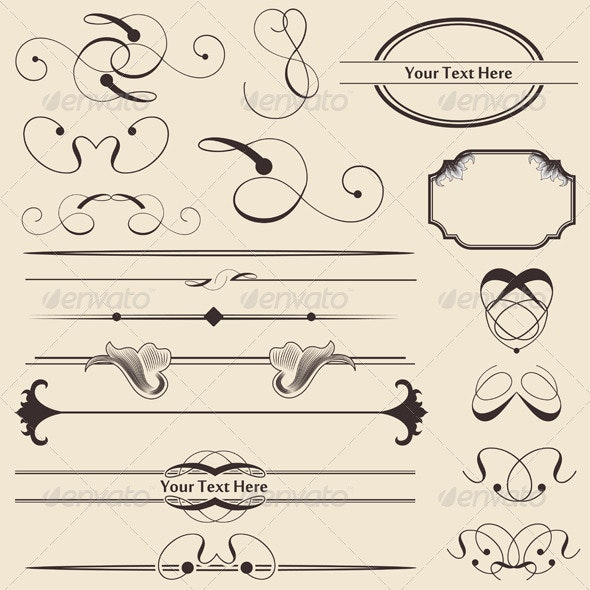 Calligraphic Page Decorations - Borders Decorative