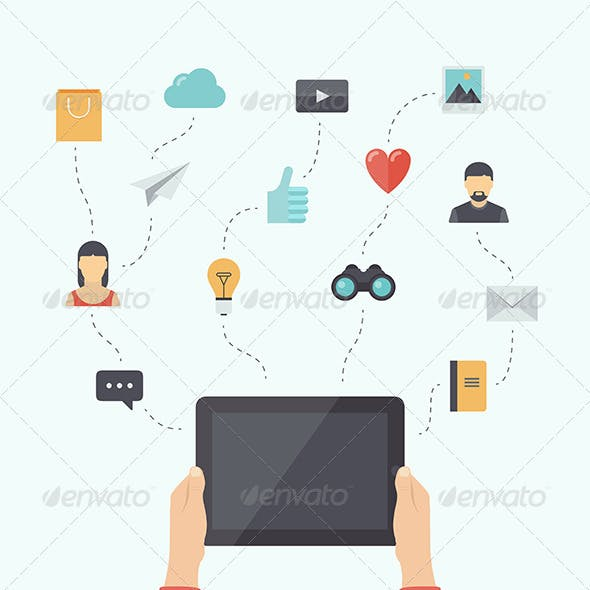 Modern Mobile Communication Flat Illustration