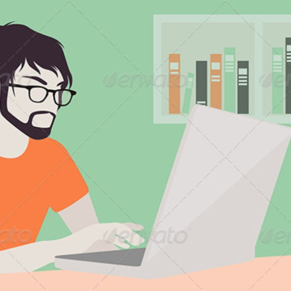 Man with Laptop Illustration