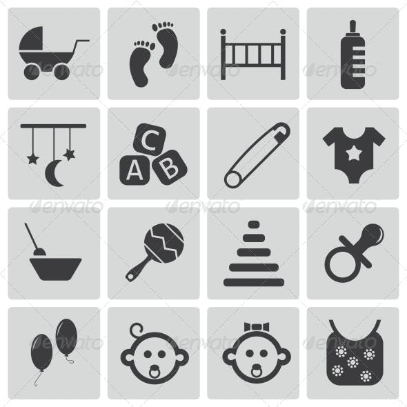 Vector Black Baby Icons Set