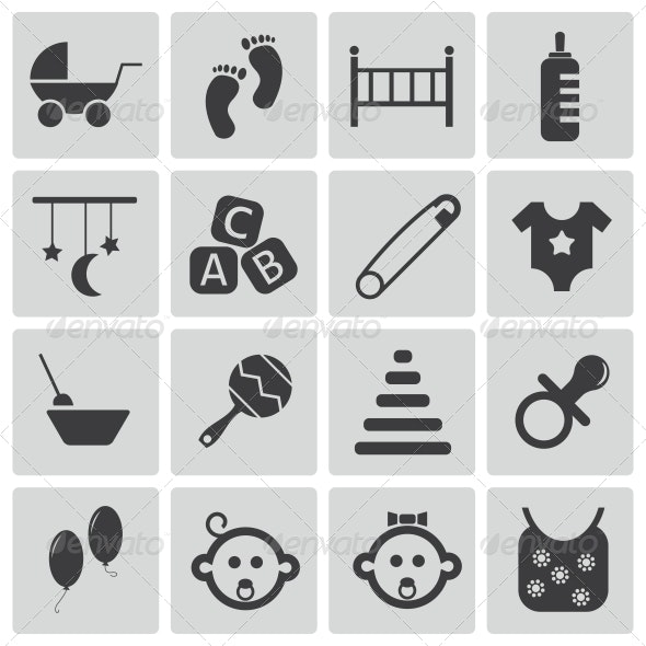Vector Black Baby Icons Set - Objects Icons