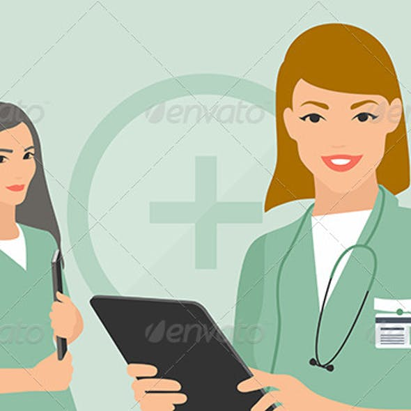 Medical Team Flat Illustration