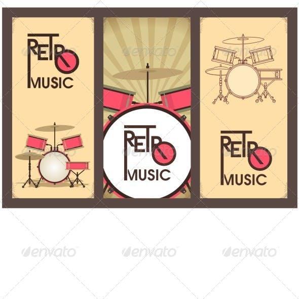 Retro Music Banner Set