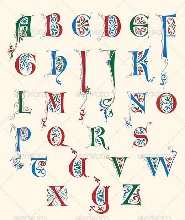 Medieval alphabet - Decorative Symbols Decorative