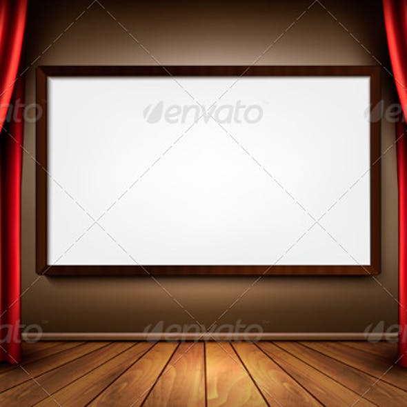Background with Red Velvet Curtain and a Screen