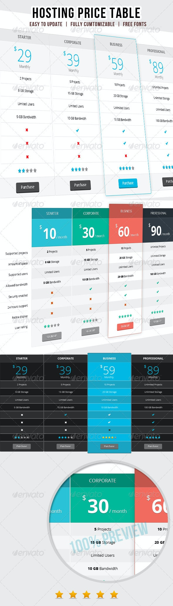 Web Hosting Price Table - Tables Web Elements