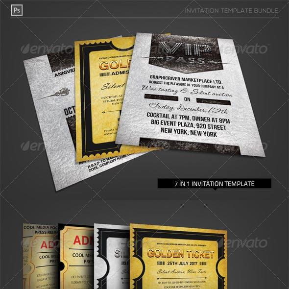 Golden Silver Invitation Template Bundle