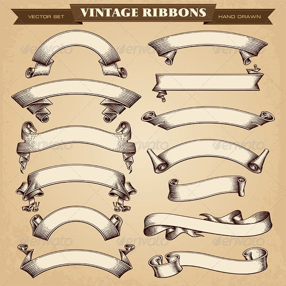 Vintage Ribbon Banners Vector