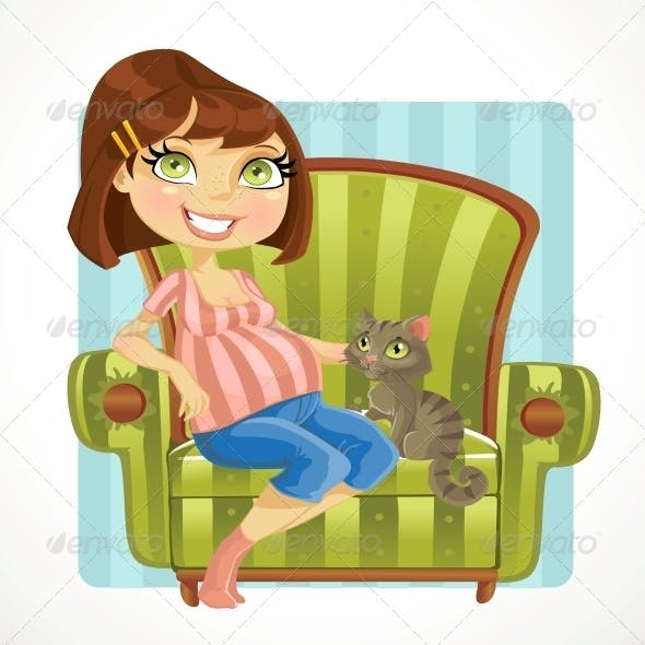 Pregnant Woman with Cat in Green Armchair