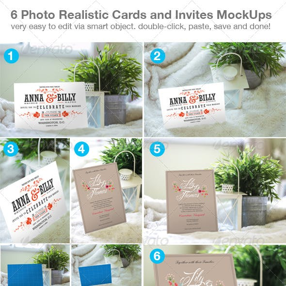 6 Photo Realistic Cards and Invites Mock-Ups