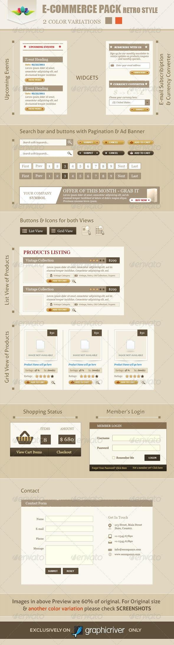 E-Commerce Pack Retro Style - User Interfaces Web Elements
