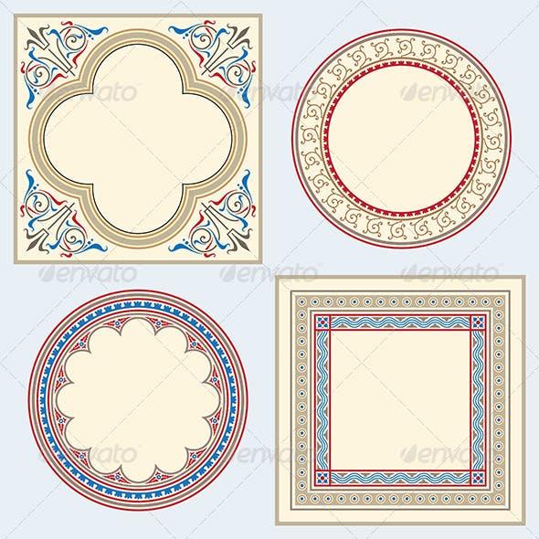 Heraldic ornamental frame set