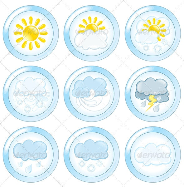 Weather Buttons Set - Seasons Nature