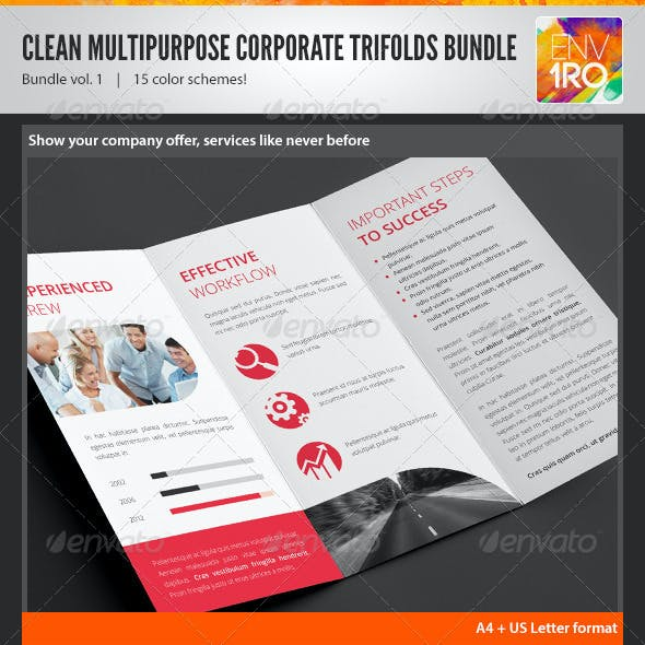 Clean Minimal Corporate Trifold Templates Bundle